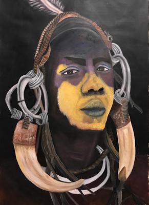 ETHIOPIAN MURSI  oil painting ca. 50 x 70 cm