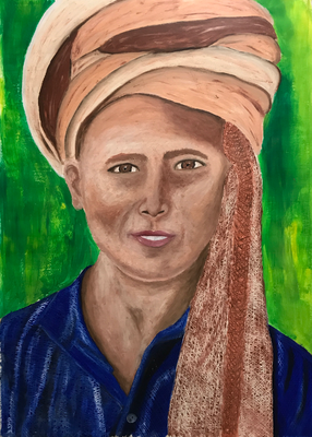 BOY WITH A TURBAN  oil painting ca. 50 x 70 cm