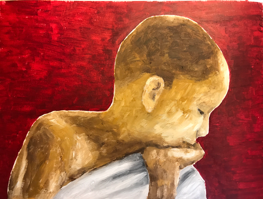 LITTLE BUDDHA  Oilpainting on canvas grain, ca. 21 x 28 cm