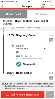 17:05 Uhr, Bahnhof Siegburg/Bonn: Es geht auch pünktlich...