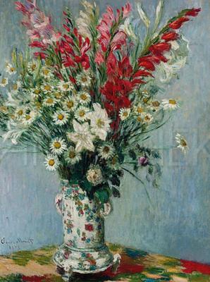 34086 - Blumenstrauss aus Gladiolien, Lilien und Margeriten - Claude Monet