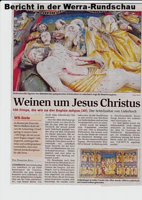Werra-Rundschau-Artikel über den Lüderbacher Flügelaltar