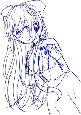 青い少女のラフ