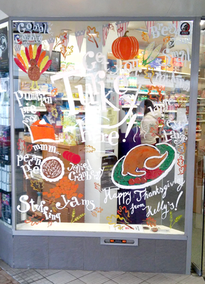 Kelly's - Wassenaar - thanksgiving raam illustraties / thanksgiving window painting