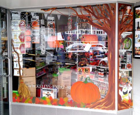 Kelly's - Wassenaar - halloween raam illustraties / halloween window painting