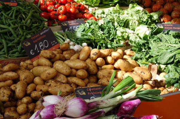 Wochenmarkt in Bozen. Tolle Auswahl und nicht nur nachgemachter Billigtand