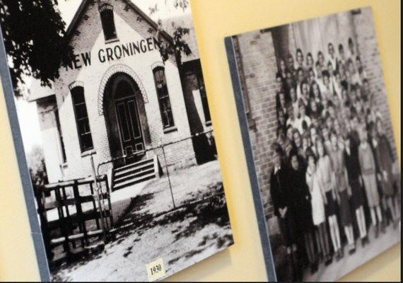 Photos of the school and students inside the newly renovated original New Groningen School. (Cory Olsen | The Grand Rapids Press)