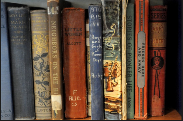 Old school books on display inside the newly renovated original New Groningen School. (Cory Olsen | The Grand Rapids Press)
