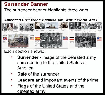 NORTH WALL - Uniform Display Case - The Surrender Banner is located in the Uniform Display Case and highlights the end of the American Civil War, the Spanish American War, and World War I.