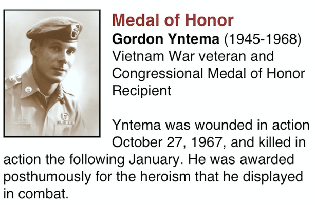 NORTH WALL - Gordon Yntema, Medal of Honor Recipient