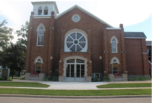The original white wood frame of First Reformed Church is under a newer, brick front. Erin Dietzer/Sentinel Staff