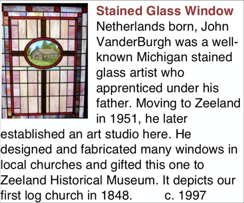 HISTORICAL NOTE: This Stained Glass Window was originally installed in the Church Room in 1987. The window is now located in the Pioneer Room on the Main Floor of the museum.