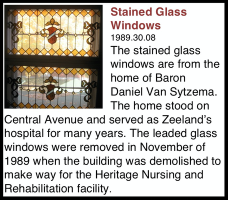These Stained Glass Windows replaced the window designed by John VanderBurgh, which was moved to the Pioneer Room on the Main Floor of the museum.