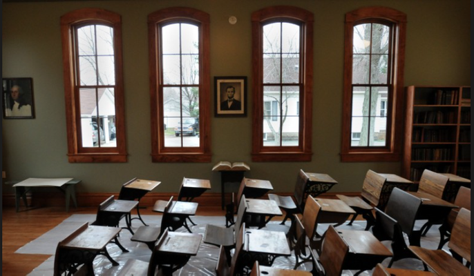 The Zeeland Historical Society has just completed a 3-year, $450,000 restoration of the original New Groningen School, which features an authentic classroom from the early 1900s. (Cory Olsen | The Grand Rapids Press)