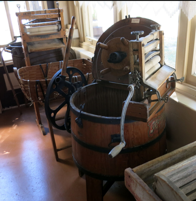 The bench wringer (shown left) dates back to 1898. The Horton Washer dates back to 1911.