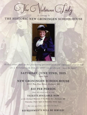 "The invitation for ""The Victorian Lady"" at the New Groningen Schoolhouse"