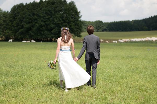 Brautkleid schlicht aus Seide