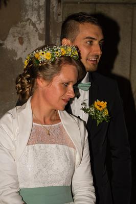 """veganes Brautkleid """"Mika"""" aus Bio Baumwolle mit floraler Spitze"""