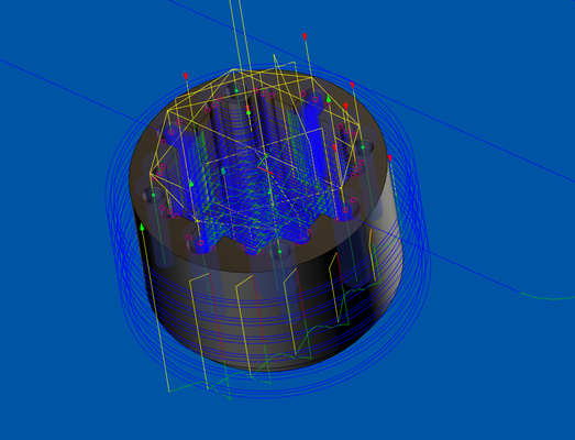 Die generierten Werkzeugwege in einem Differentialgehäuse zur Optimierung von Bearbeitung und Taktzeit.