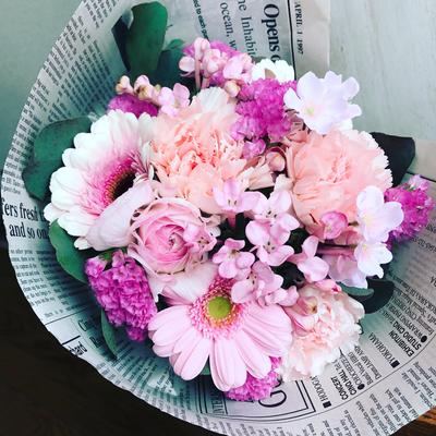 3月 東京 表参道1dayレッスン「さくら色のブーケ(生花)」