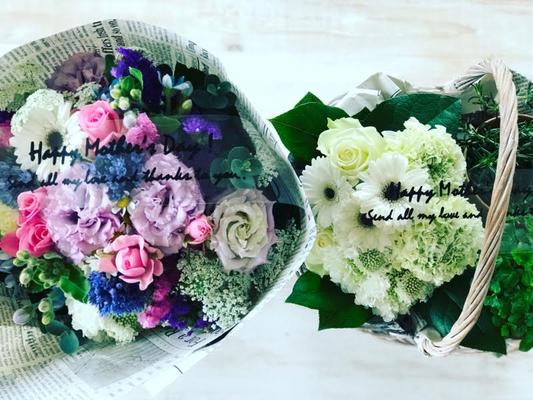 母の日ギフト2017 「ミックスブーケ」花束Mサイズ&「フラワーアレンジメント&ハーブの鉢植」カゴMサイズ