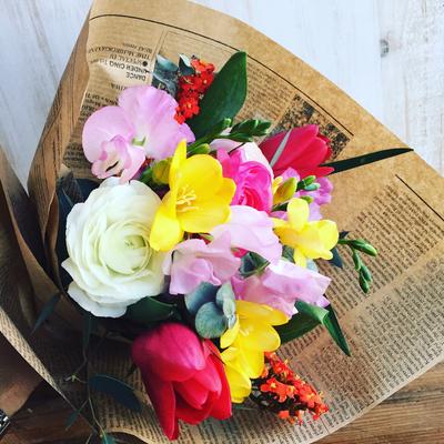 1月 長野 飯田1dayレッスン「春を束ねた春色の花束(生花)」作り