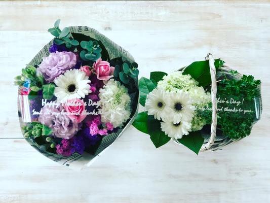 母の日ギフト2017 「ミックスブーケ」花束Sサイズ&「フラワーアレンジメント&ハーブの鉢植」カゴSサイズ