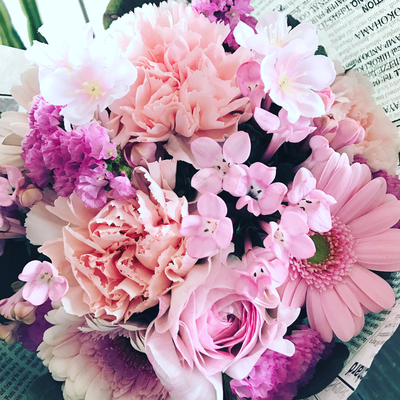 3月 長野 飯田1dayレッスン「さくら色のブーケ(生花)」