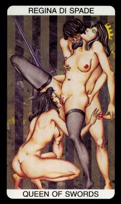 Tarot érotique du jardin de Priape - Érotique - Reine d'Épées