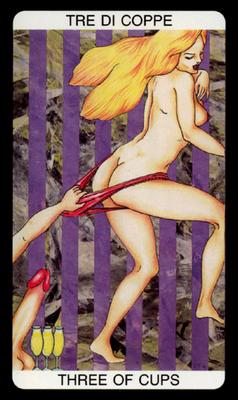Tarot érotique du jardin de Priape - Érotique - 3 de Coupes
