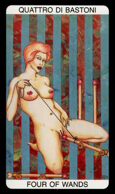 Tarot érotique du jardin de Priape - Érotique - 4 de Bâtons