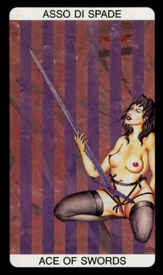 Tarot érotique du jardin de Priape - Érotique - As d'Épées