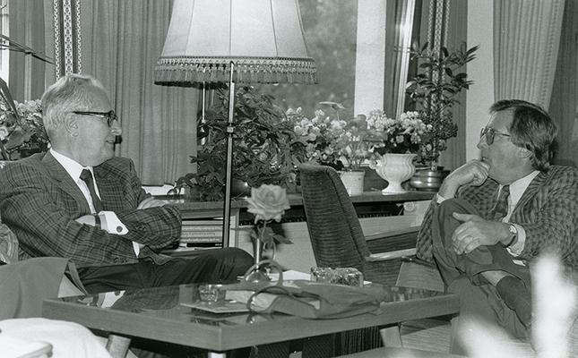 03. April 1980 Besuch von Jochen Vogel, Deutscher Justizminister, beim Liechtensteiner Presseclub, 03.04.1980 Foto: Brigitt Risch, Schaan