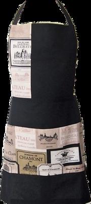 Tablier de cuisine noir vins et étiquettes châteaux
