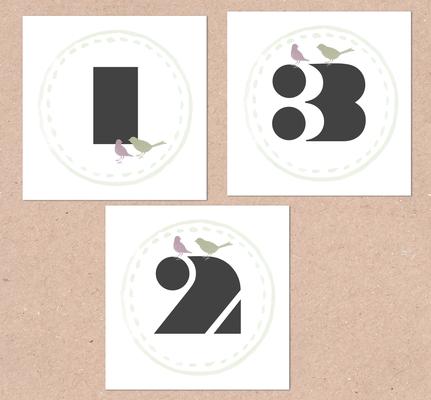 Tischnummern (Juhu Papeterie, Hochzeitsset, Kraftpapier, moosgrün, Lavendel, Vintage, Hochzeitseinladung)