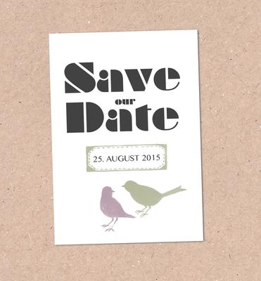 Save the Date Karte (Juhu Papeterie, Hochzeitsset, Kraftpapier, moosgrün, Lavendel, Vintage, Hochzeitseinladung)
