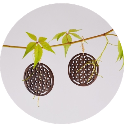 Flower of Life Earrings - Nuwood with goldplated 925 Silver / 68Sfr - SOLD