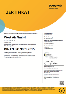 West Air GmbH ISO9001:2015