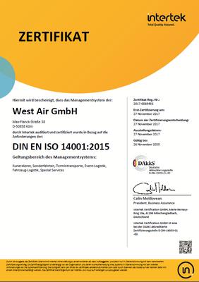 West Air GmbH Umwelt 14001:2015