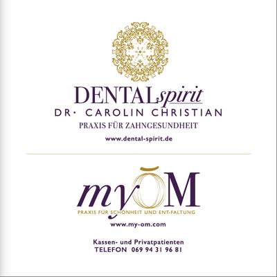 Corporate Design für Zahnarztpraxis Dental Spirit und Schönheitsbehandlung myOM, Frankfurt, Aussenschild  © Susanne Barth, The Creative Associates