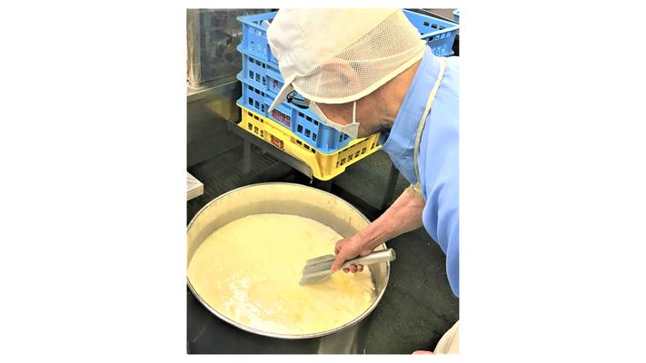 3、 煮あがった大豆をおからと豆乳に分け、豆乳ににがりを投入します。 大豆の旨味を壊さないように豆腐の寄り型具合を見ながら3回に分けにがりを 投入します。