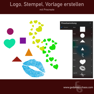 Stempel, Pro-Bibliothek und Pinsel in Procreate