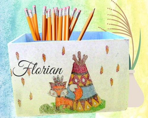 Stiftebox Indianerfuchs  Florian personalisiert