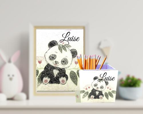 Stiftebox Eucalyptus Panda  Luise personalisiert