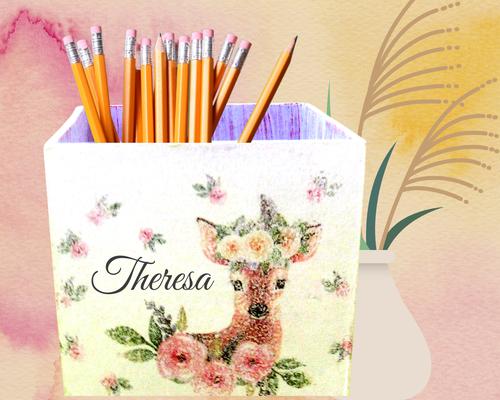 Stiftebox Rosenreh  Theresa personalisiert