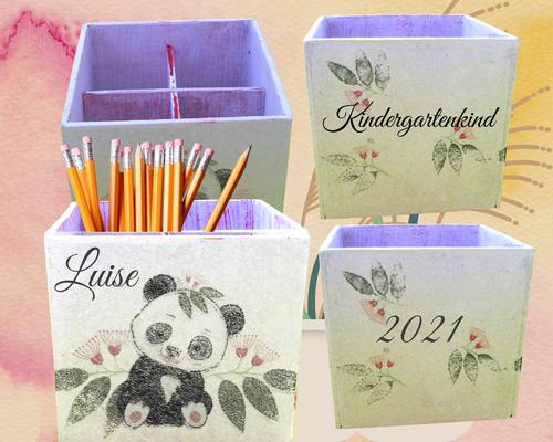 Stiftebox Eucalyptus Panda  Luise Kindergartenkind 2021