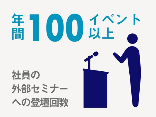 プロフェッショナル集団だからこそ、社内には対外活動を行っている社員が多数おり、社内外のイベント含めて年間100イベント以上に登壇しています。