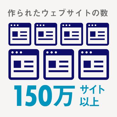 Jimdoで作られた国内のウェブサイトは150万サイト以上で、現在も増え続けています。