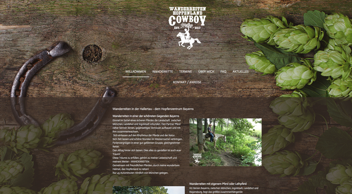 Webseite Hopfenlandcowboy Wanderreiten, RossFoto Dana Krimmling