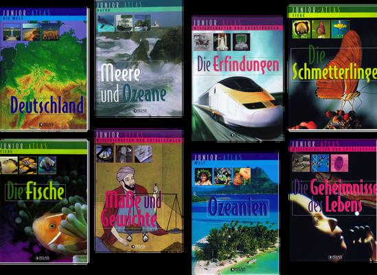Junior-Atlas, zahlreiche Bücher der Reihe, 2004–2008 (Éditions Atlas)